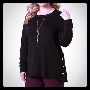 Sweater Long Sleeves Side Button Plus